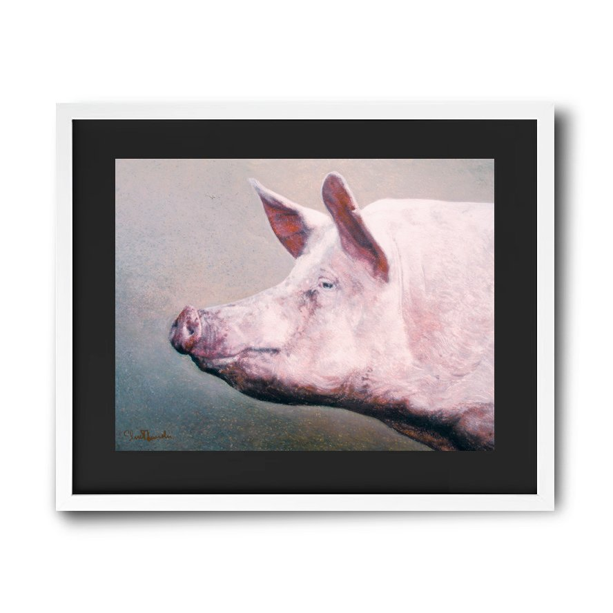 Pig painting crayons oil pastels paintings in high quality prints